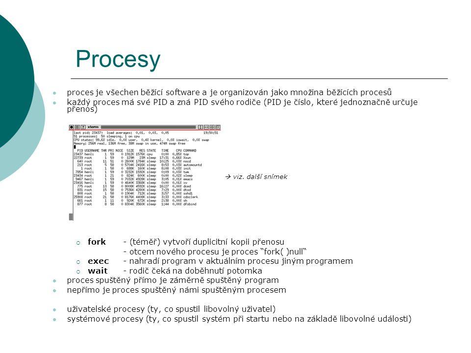proces je všechen běžící software a je organizován jako množina běžících procesů každý proces má své PID a zná PID svého rodiče (PID je číslo, které jednoznačně určuje přenos)  viz.