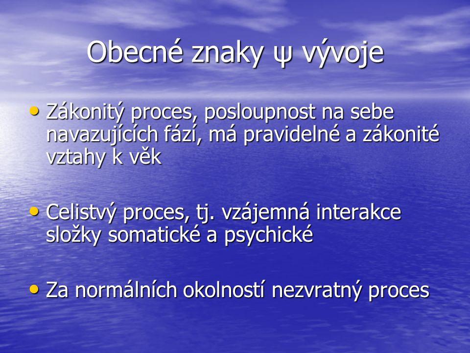 Obecné znaky ψ vývoje Zákonitý proces, posloupnost na sebe navazujících fází, má pravidelné a zákonité vztahy k věk Zákonitý proces, posloupnost na se