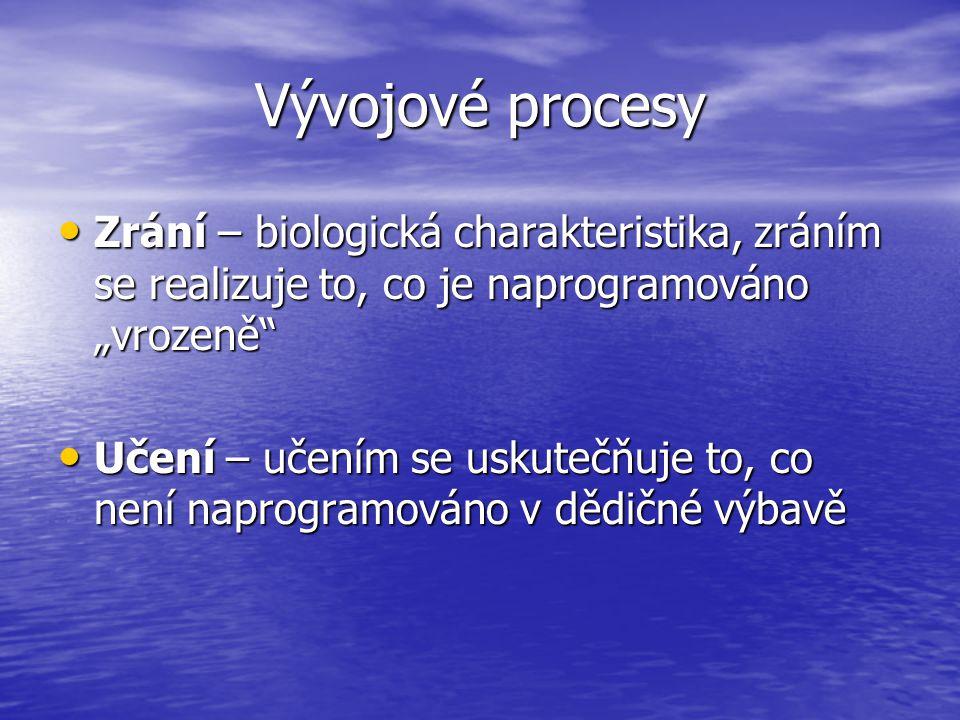"""Vývojové procesy Zrání – biologická charakteristika, zráním se realizuje to, co je naprogramováno """"vrozeně Zrání – biologická charakteristika, zráním se realizuje to, co je naprogramováno """"vrozeně Učení – učením se uskutečňuje to, co není naprogramováno v dědičné výbavě Učení – učením se uskutečňuje to, co není naprogramováno v dědičné výbavě"""