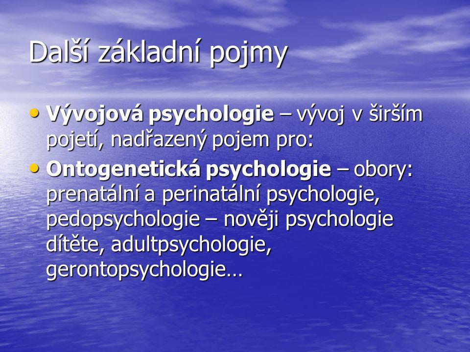 Další základní pojmy Vývojová psychologie – vývoj v širším pojetí, nadřazený pojem pro: Vývojová psychologie – vývoj v širším pojetí, nadřazený pojem