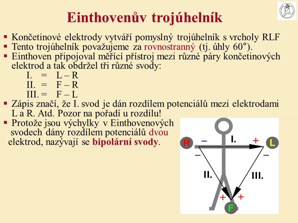  Končetinové elektrody vytváří pomyslný trojúhelník s vrcholy RLF  Tento trojúhelník považujeme za rovnostranný (tj. úhly 60°).  Einthoven připojov