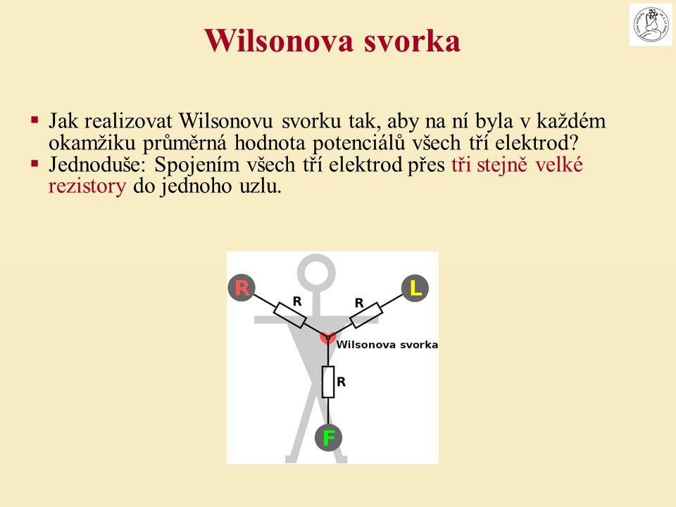  Jak realizovat Wilsonovu svorku tak, aby na ní byla v každém okamžiku průměrná hodnota potenciálů všech tří elektrod?  Jednoduše: Spojením všech tř