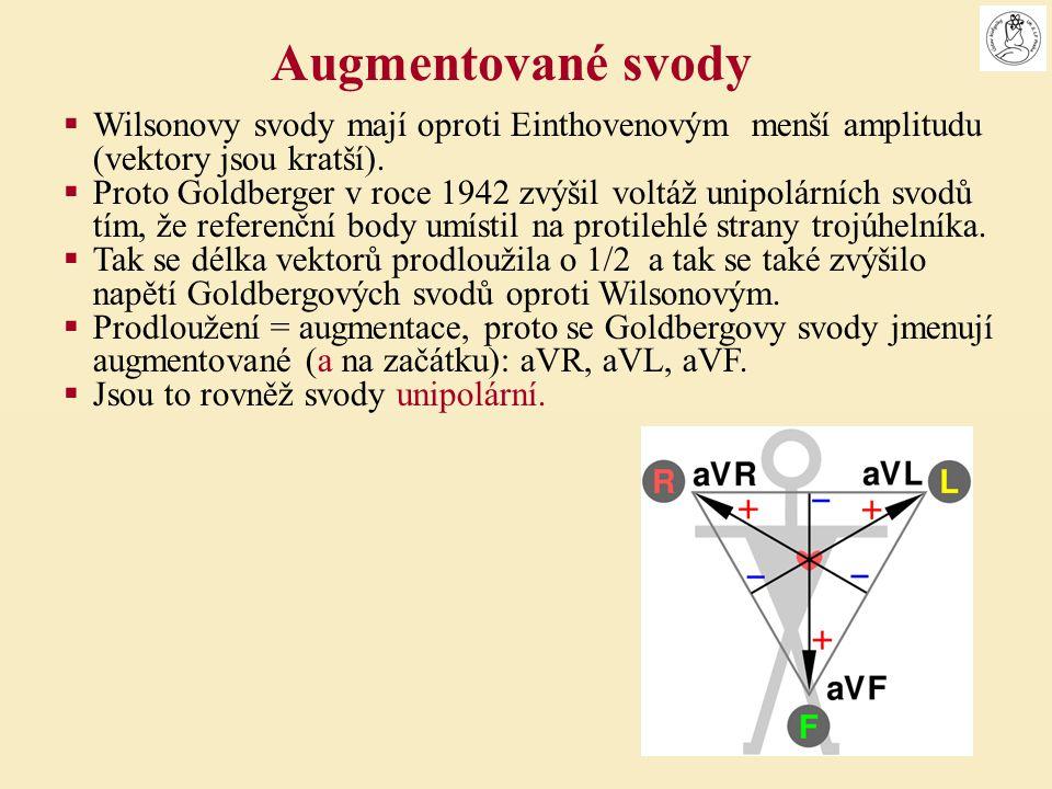  Wilsonovy svody mají oproti Einthovenovým menší amplitudu (vektory jsou kratší).  Proto Goldberger v roce 1942 zvýšil voltáž unipolárních svodů tím