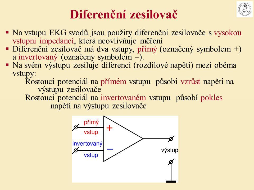  Na vstupu EKG svodů jsou použity diferenční zesilovače s vysokou vstupní impedancí, která neovlivňuje měření  Diferenční zesilovač má dva vstupy, p