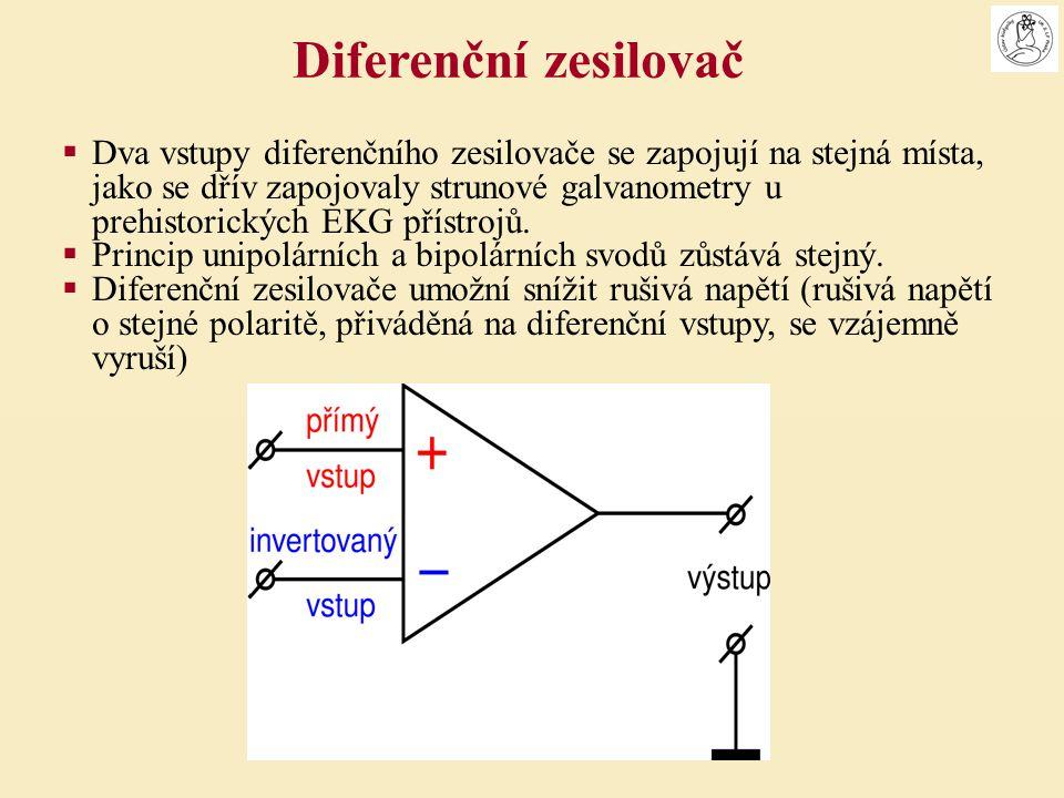  Dva vstupy diferenčního zesilovače se zapojují na stejná místa, jako se dřív zapojovaly strunové galvanometry u prehistorických EKG přístrojů.  Pri