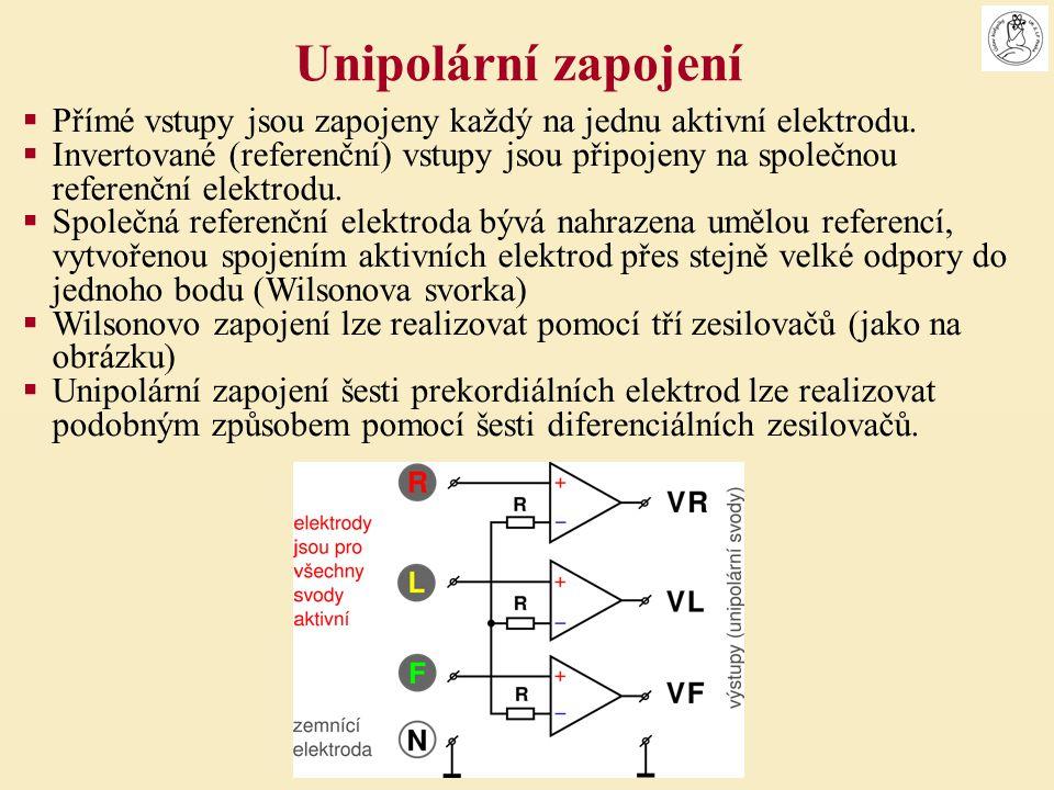  Přímé vstupy jsou zapojeny každý na jednu aktivní elektrodu.  Invertované (referenční) vstupy jsou připojeny na společnou referenční elektrodu.  S