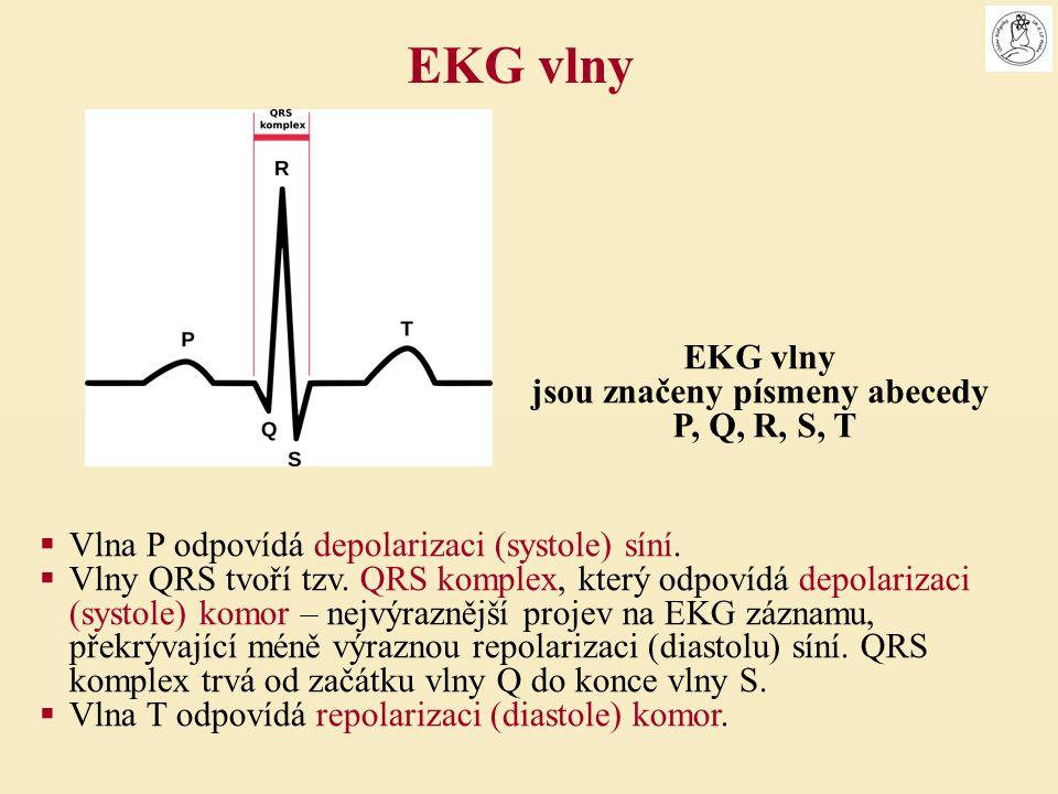 Vlna P odpovídá depolarizaci (systole) síní.  Vlny QRS tvoří tzv. QRS komplex, který odpovídá depolarizaci (systole) komor – nejvýraznější projev n