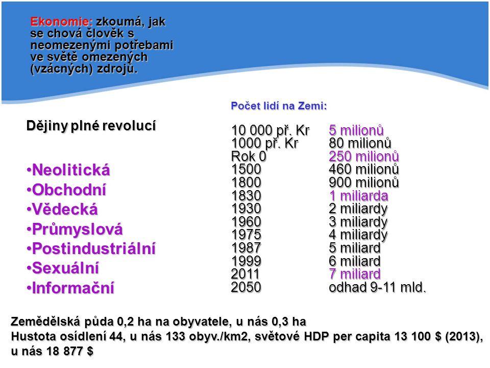 Dějiny plné revolucí NeolitickáNeolitická ObchodníObchodní VědeckáVědecká PrůmyslováPrůmyslová PostindustriálníPostindustriální SexuálníSexuální Infor