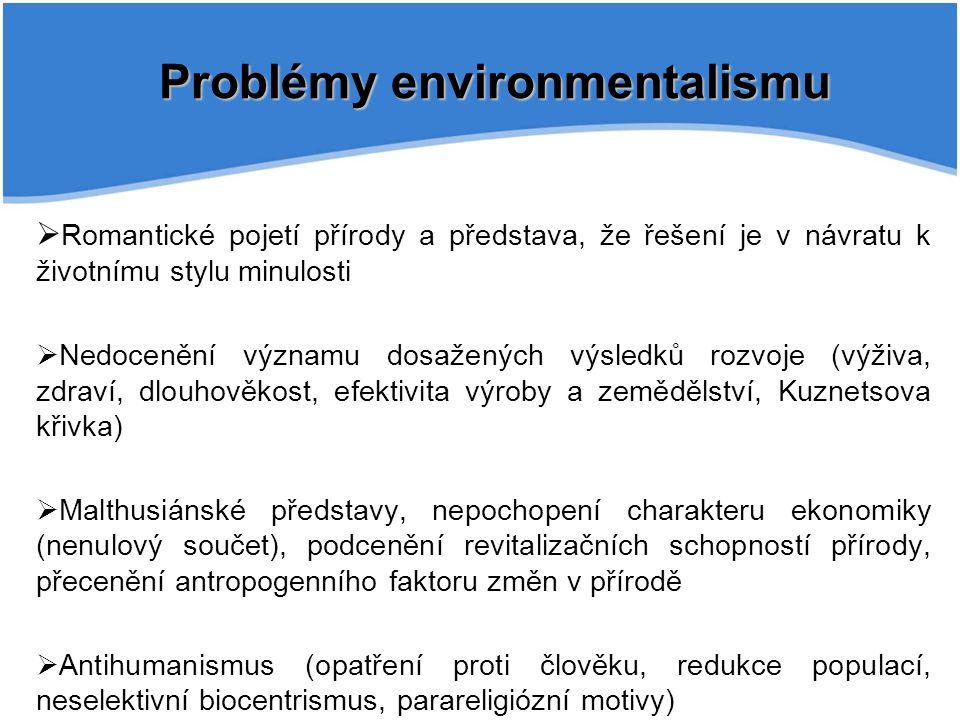 Problémy environmentalismu  Romantické pojetí přírody a představa, že řešení je v návratu k životnímu stylu minulosti  Nedocenění významu dosažených
