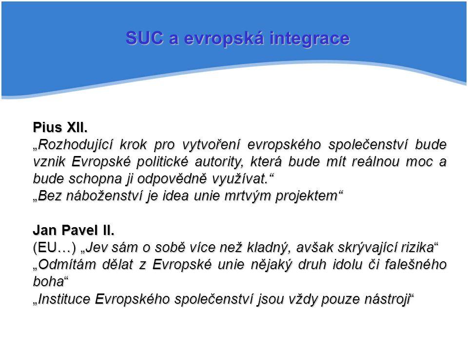 """SUC a evropská integrace Pius XII. """"Rozhodující krok pro vytvoření evropského společenství bude vznik Evropské politické autority, která bude mít reál"""