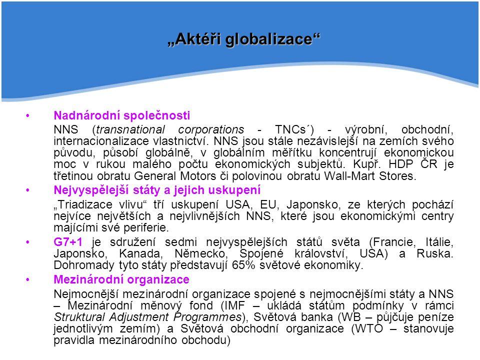 Nadnárodní společnosti NNS (transnational corporations - TNCs´) - výrobní, obchodní, internacionalizace vlastnictví. NNS jsou stále nezávislejší na ze