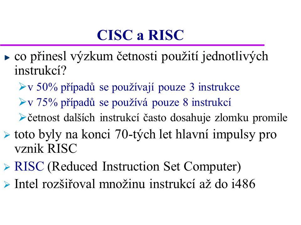 CISC a RISC co přinesl výzkum četnosti použití jednotlivých instrukcí?  v 50% případů se používají pouze 3 instrukce  v 75% případů se používá pouze
