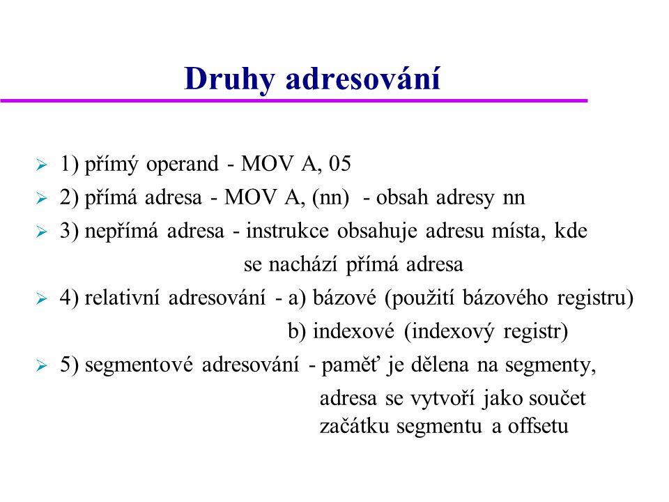 Druhy adresování  1) přímý operand - MOV A, 05  2) přímá adresa - MOV A, (nn) - obsah adresy nn  3) nepřímá adresa - instrukce obsahuje adresu míst