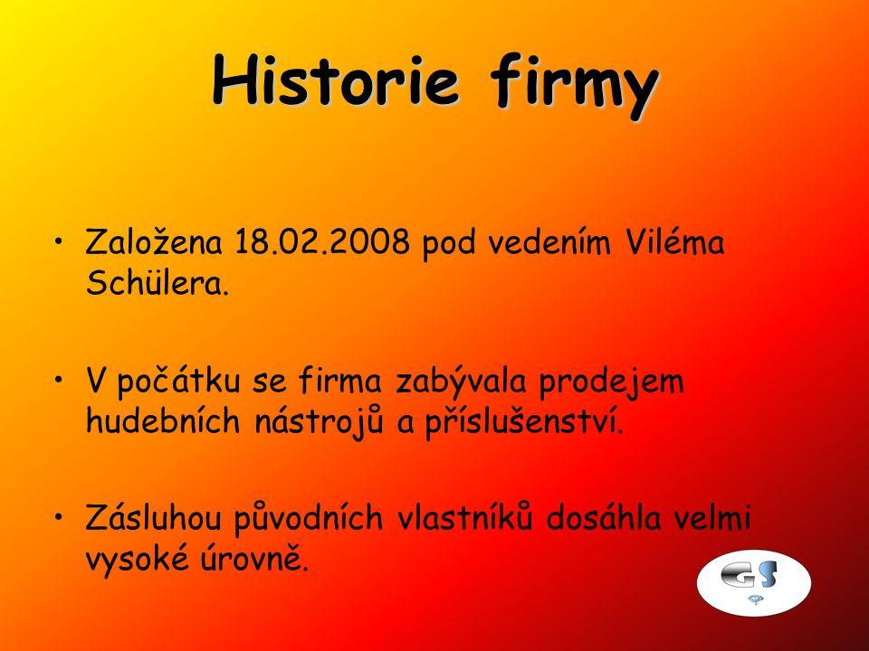 Historie firmy Založena 18.02.2008 pod vedením Viléma Schülera.