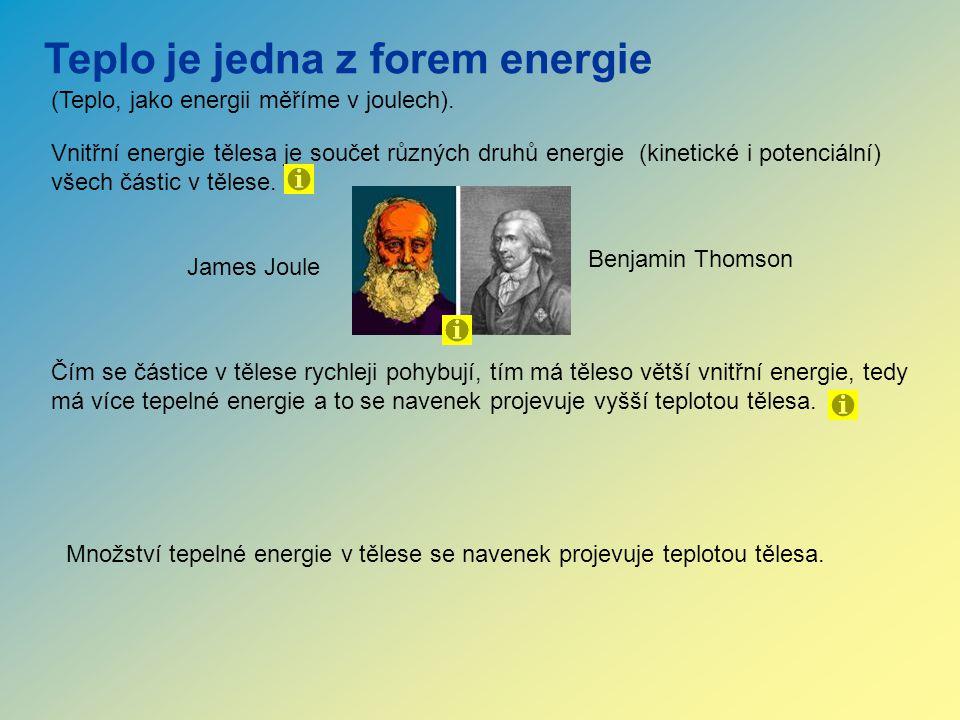 Teplo je jedna z forem energie Množství tepelné energie v tělese se navenek projevuje teplotou tělesa. Vnitřní energie tělesa je součet různých druhů