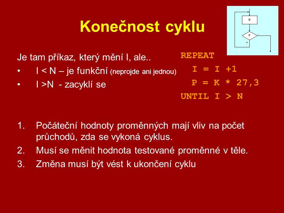 Konečnost cyklu Je tam příkaz, který mění I, ale.. I < N – je funkční (neprojde ani jednou) I >N - zacyklí se 1.Počáteční hodnoty proměnných mají vliv