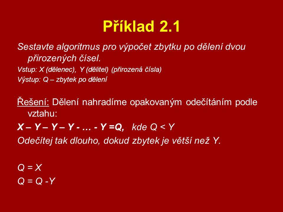 Příklad 2.1 Sestavte algoritmus pro výpočet zbytku po dělení dvou přirozených čísel. Vstup: X (dělenec), Y (dělitel) (přirozená čísla) Výstup: Q – zby