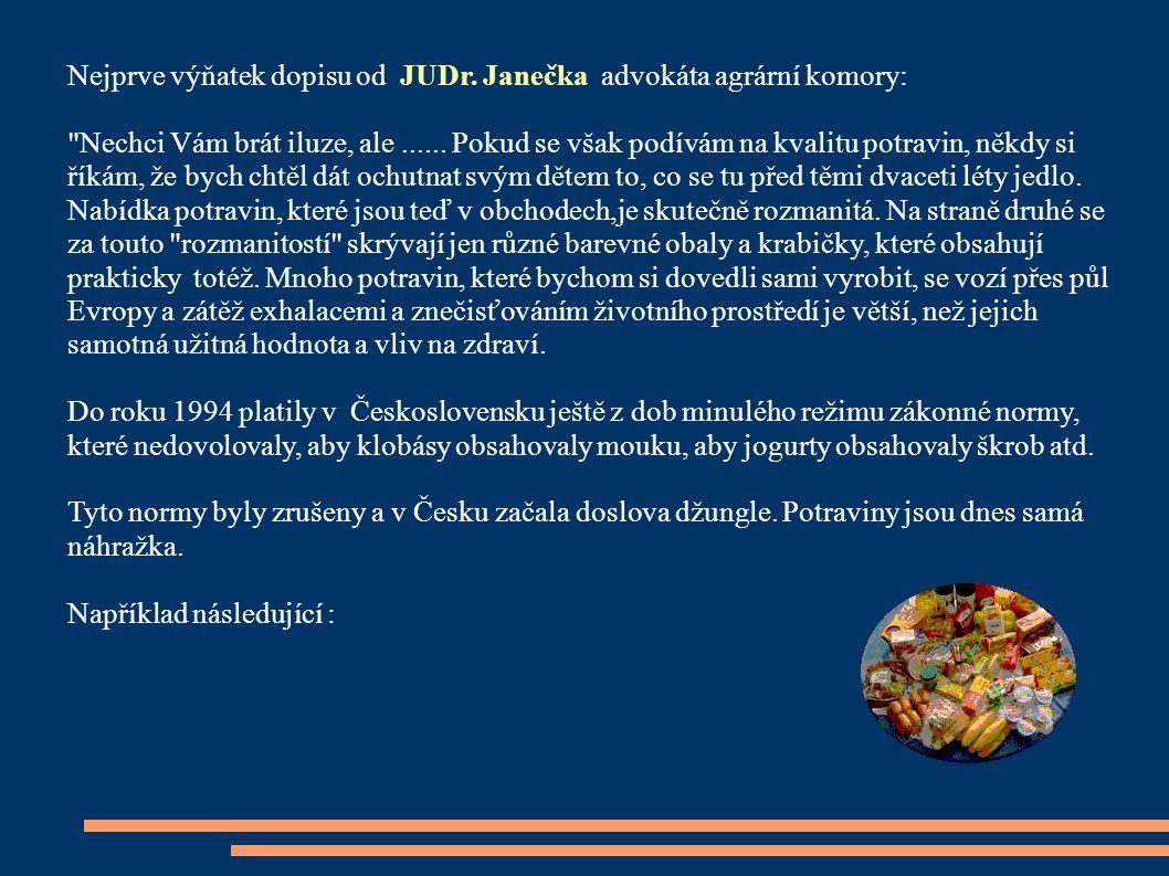 Nejprve výňatek dopis u od JUDr. Janečka advokáta agrární komory: Nechci Vám brát iluze, ale......