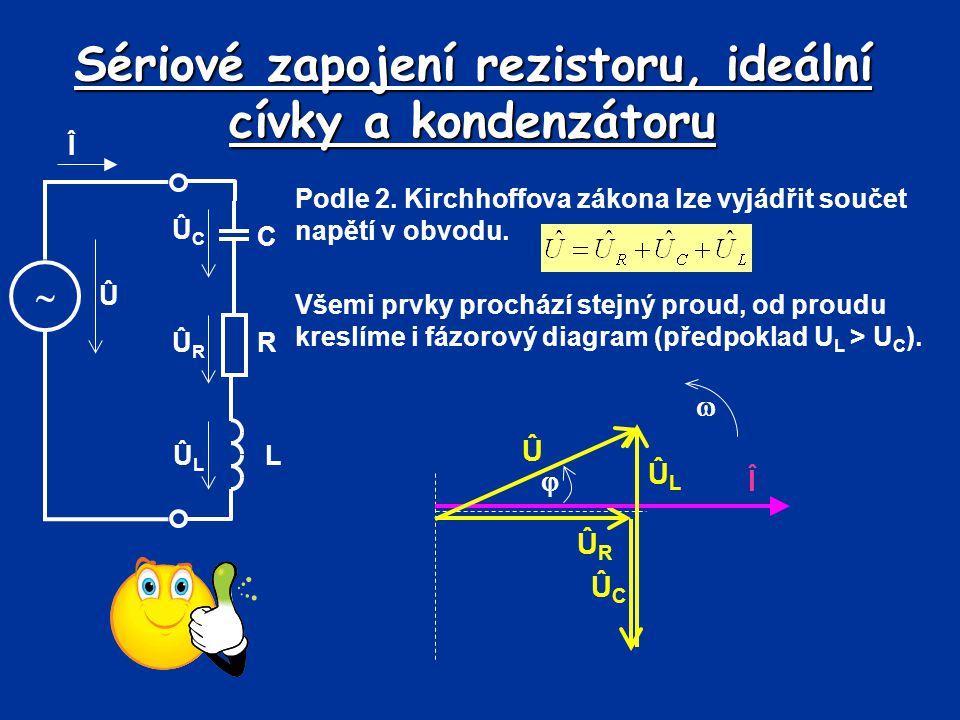 Sériové zapojení rezistoru, ideální cívky a kondenzátoru Podle 2. Kirchhoffova zákona lze vyjádřit součet napětí v obvodu. Î  C Û ÛCÛC ÛRÛR R LÛLÛL V