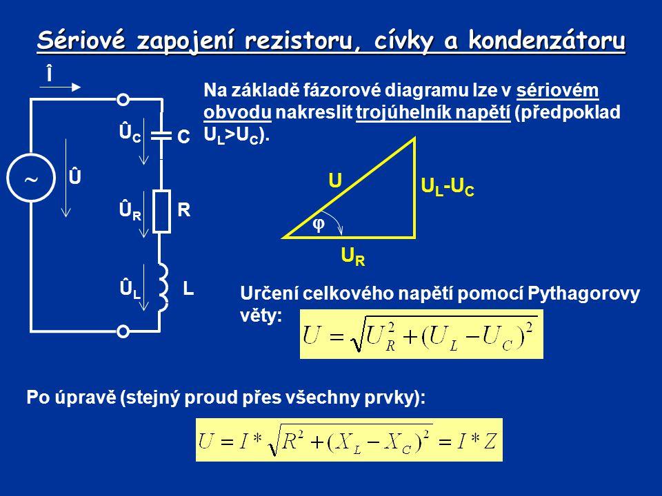 Sériové zapojení rezistoru, cívky a kondenzátoru Na základě fázorové diagramu lze v sériovém obvodu nakreslit trojúhelník napětí (předpoklad U L >U C