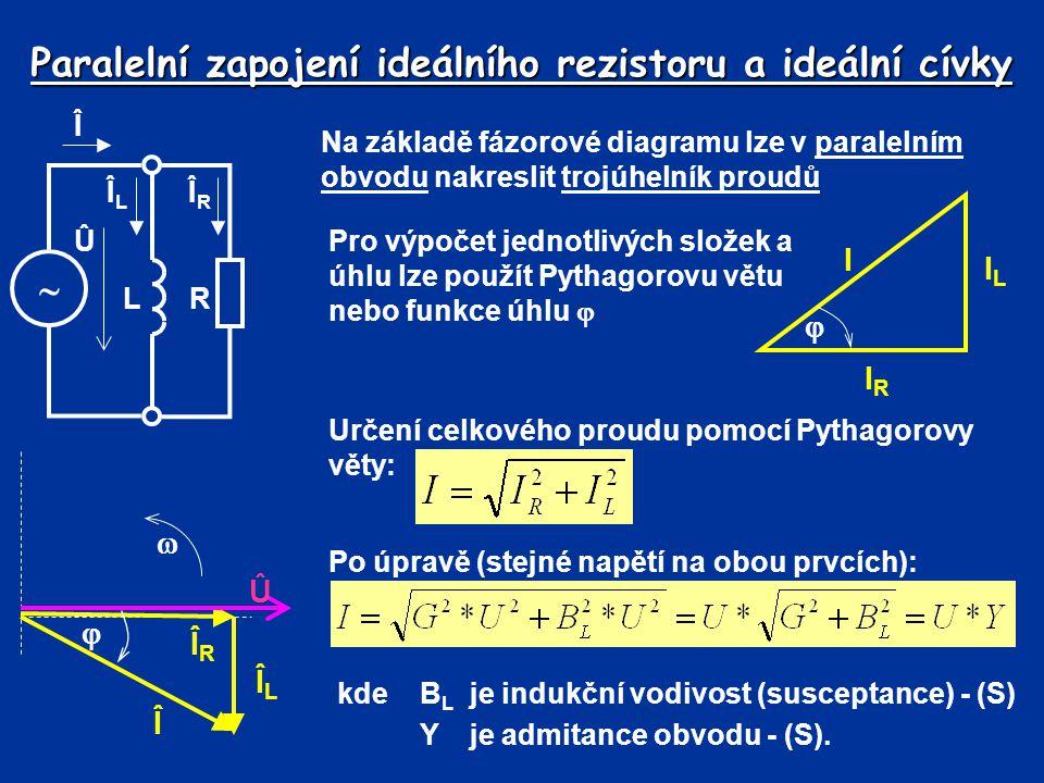 Paralelní zapojení ideálního rezistoru a ideální cívky Na základě fázorové diagramu lze v paralelním obvodu nakreslit trojúhelník proudů IRIR ILIL I 