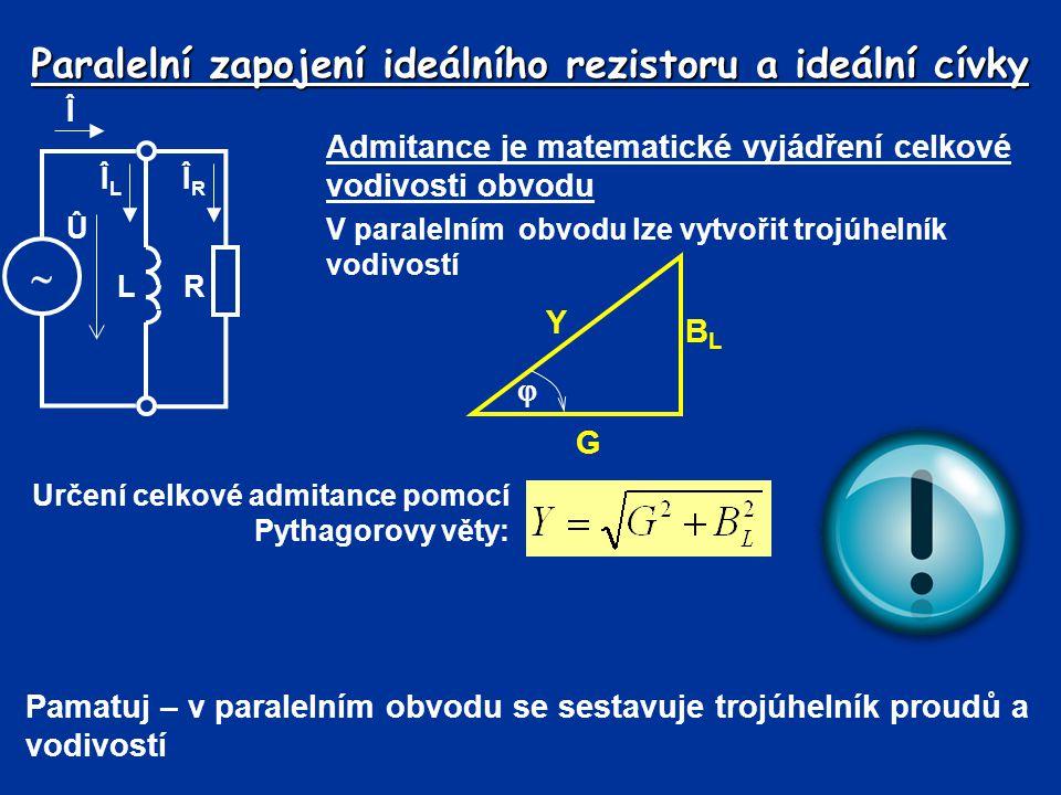 Paralelní zapojení ideálního rezistoru a ideální cívky Admitance je matematické vyjádření celkové vodivosti obvodu V paralelním obvodu lze vytvořit tr