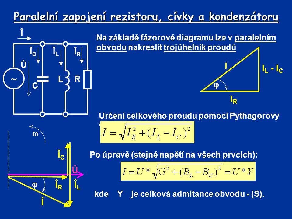Paralelní zapojení rezistoru, cívky a kondenzátoru Na základě fázorové diagramu lze v paralelním obvodu nakreslit trojúhelník proudů IRIR I L - I C I