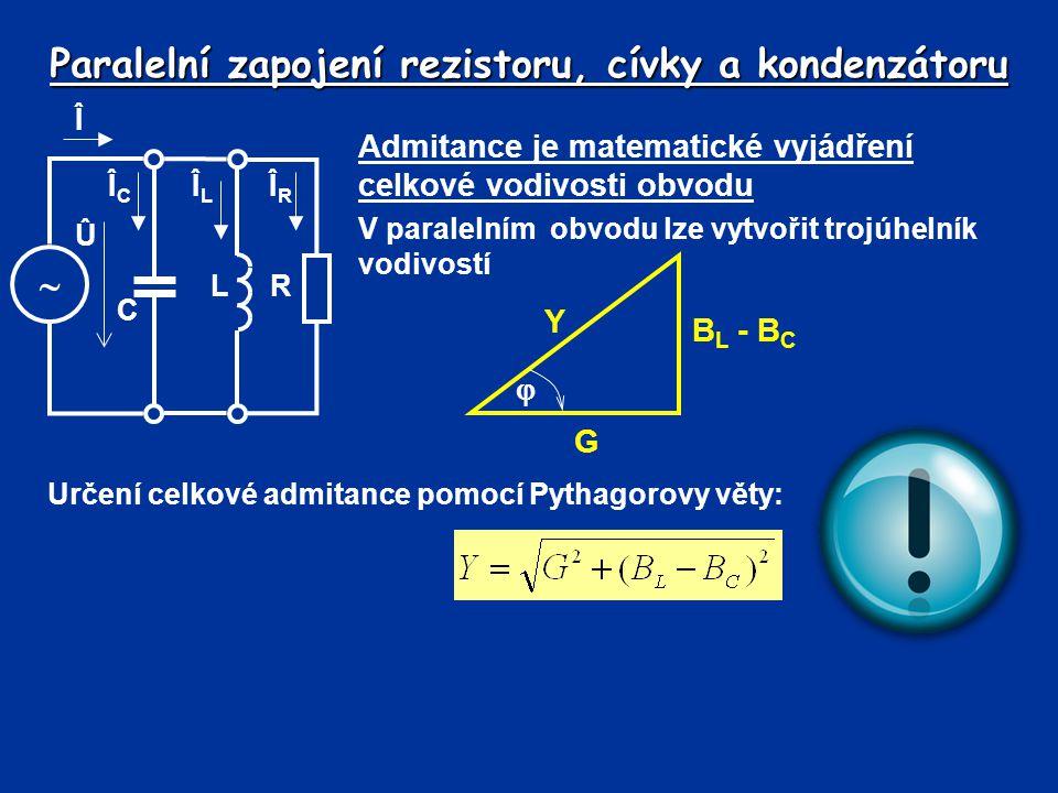 Paralelní zapojení rezistoru, cívky a kondenzátoru Admitance je matematické vyjádření celkové vodivosti obvodu V paralelním obvodu lze vytvořit trojúh