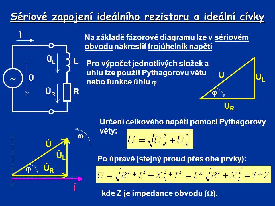 Sériové zapojení ideálního rezistoru a ideální cívky Impedance (zdánlivý odpor) je matematické vyjádření celkového odporu obvodu V sériovém obvodu lze vytvořit trojúhelník odporů Î  L Û ÛLÛL ÛRÛR R R XLXL Z  Pro výpočet jednotlivých složek a úhlu lze použít Pythagorovu větu nebo funkce úhlu  Určení celkové impedance pomocí Pythagorovy věty: Sériové zapojení ideální cívky a rezistoru se používá při znázornění skutečné cívky.