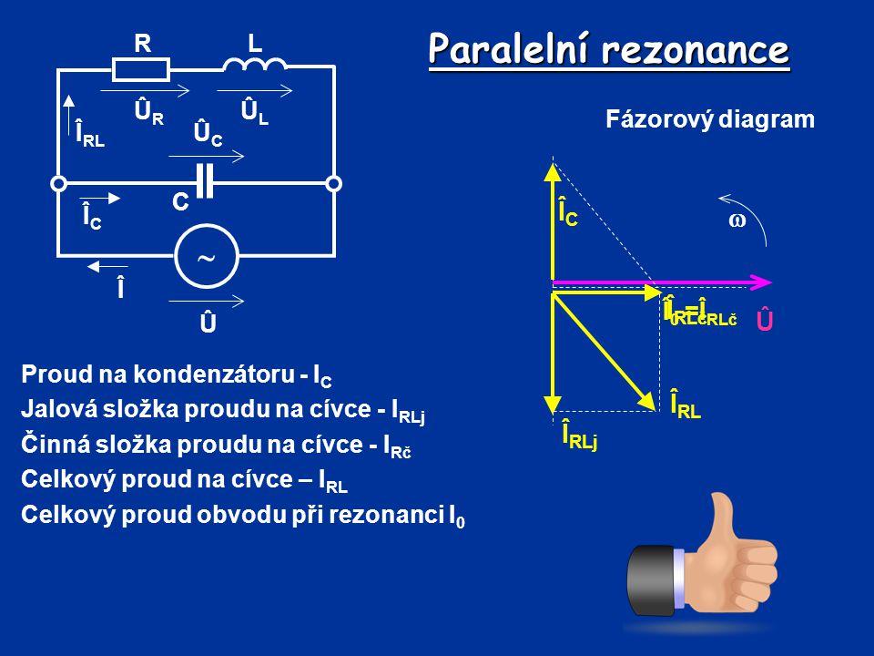 Paralelní rezonance Proud na kondenzátoru - I C Jalová složka proudu na cívce - I RLj Činná složka proudu na cívce - I Rč Celkový proud na cívce – I R