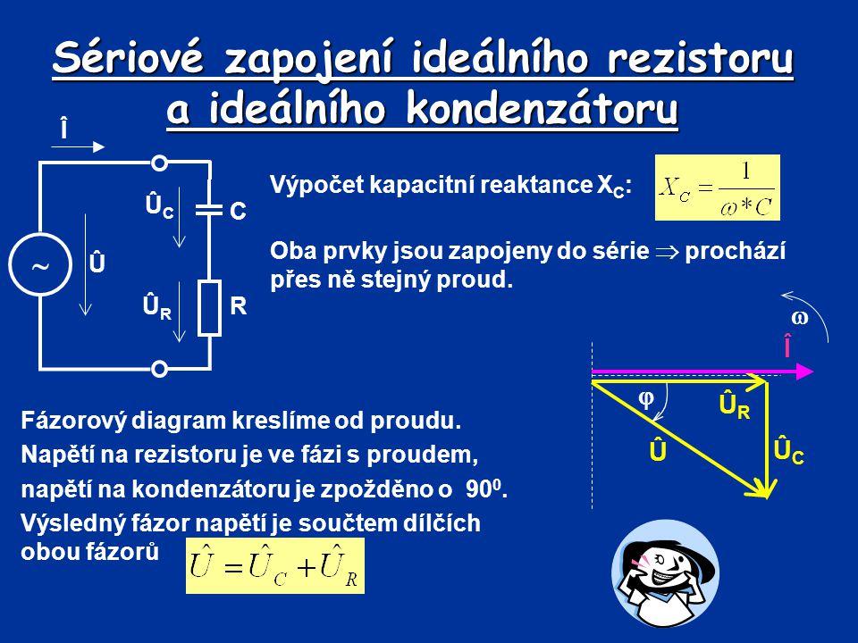 Sériové zapojení ideálního rezistoru a kondenzátoru Na základě fázorové diagramu lze v sériovém obvodu nakreslit trojúhelník napětí URUR UCUC U  Pro výpočet jednotlivých složek a úhlu lze použít Pythagorovu větu nebo funkce úhlu  Určení celkového napětí pomocí Pythagorovy věty: Po úpravě (stejný proud přes oba prvky): kde Z je impedance obvodu (  ).