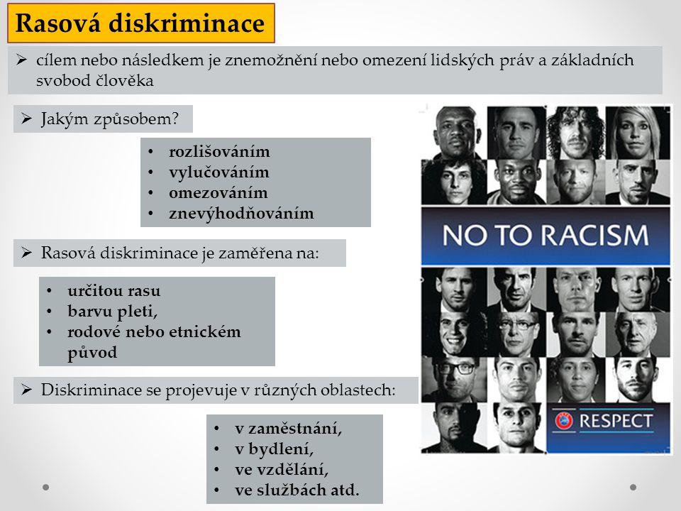  Diskriminace se projevuje v různých oblastech: Rasová diskriminace rozlišováním vylučováním omezováním znevýhodňováním určitou rasu barvu pleti, rod