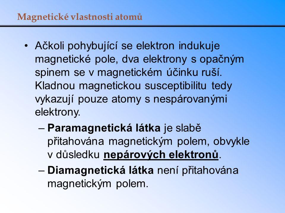 Magnetické vlastnosti atomů Ačkoli pohybující se elektron indukuje magnetické pole, dva elektrony s opačným spinem se v magnetickém účinku ruší.