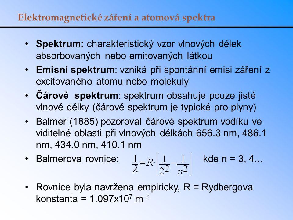 Elektromagnetické záření a atomová spektra Spektrum: charakteristický vzor vlnových délek absorbovaných nebo emitovaných látkou Emisní spektrum: vzniká při spontánní emisi záření z excitovaného atomu nebo molekuly Čárové spektrum: spektrum obsahuje pouze jisté vlnové délky (čárové spektrum je typické pro plyny) Balmer (1885) pozoroval čárové spektrum vodíku ve viditelné oblasti při vlnových délkách 656.3 nm, 486.1 nm, 434.0 nm, 410.1 nm Balmerova rovnice: kde n = 3, 4...