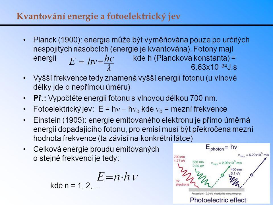 Kvantování energie a fotoelektrický jev Planck (1900): energie může být vyměňována pouze po určitých nespojitých násobcích (energie je kvantována).