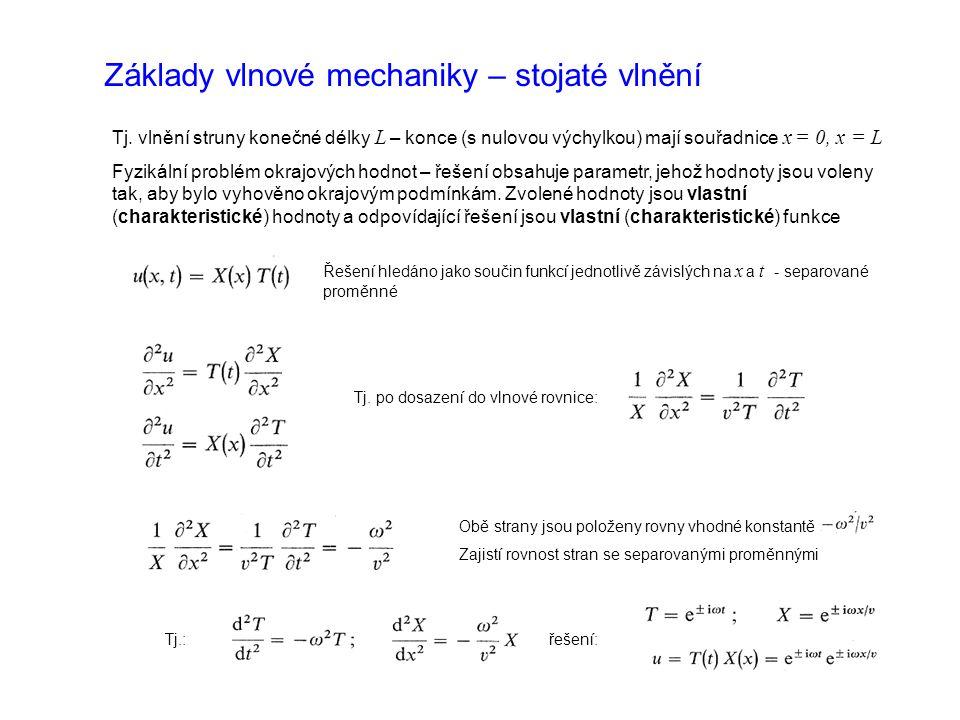 Základy vlnové mechaniky – stojaté vlnění Tj.