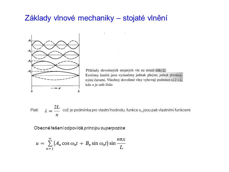 Základy vlnové mechaniky – stojaté vlnění Platí: což je podmínka pro vlastní hodnotu, funkce u n jsou pak vlastními funkcemi Obecné řešení odpovídá principu superpozice