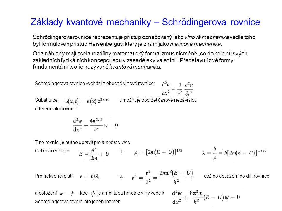 Základy kvantové mechaniky – Schrödingerova rovnice Schrödingerova rovnice reprezentuje přístup označovaný jako vlnová mechanika vedle toho byl formulován přístup Heisenbergův, který je znám jako maticová mechanika.