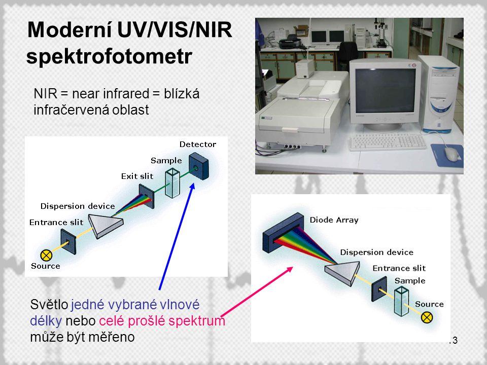 13 Moderní UV/VIS/NIR spektrofotometr Světlo jedné vybrané vlnové délky nebo celé prošlé spektrum může být měřeno NIR = near infrared = blízká infračervená oblast