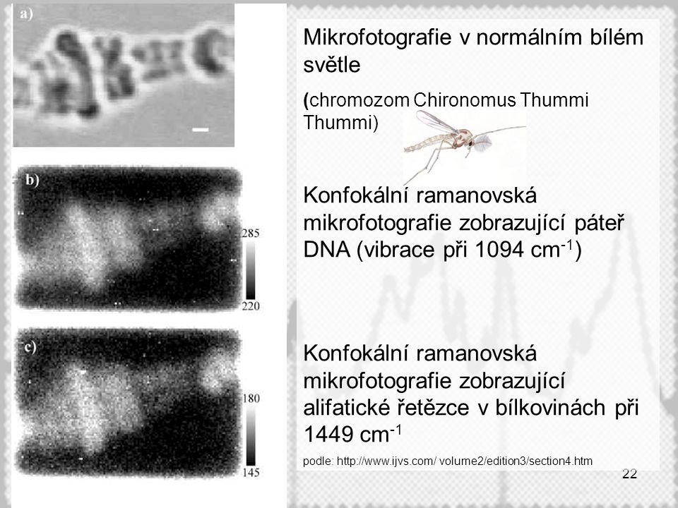 22 Mikrofotografie v normálním bílém světle (chromozom Chironomus Thummi Thummi) Konfokální ramanovská mikrofotografie zobrazující páteř DNA (vibrace při 1094 cm -1 ) Konfokální ramanovská mikrofotografie zobrazující alifatické řetězce v bílkovinách při 1449 cm -1 podle: http://www.ijvs.com/ volume2/edition3/section4.htm
