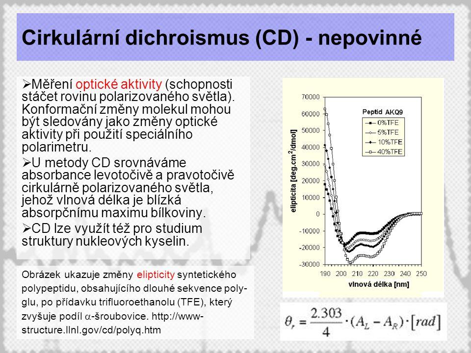 24 Cirkulární dichroismus (CD) - nepovinné  Měření optické aktivity (schopnosti stáčet rovinu polarizovaného světla). Konformační změny molekul mohou
