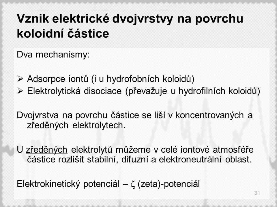 31 Vznik elektrické dvojvrstvy na povrchu koloidní částice Dva mechanismy:  Adsorpce iontů (i u hydrofobních koloidů)  Elektrolytická disociace (převažuje u hydrofilních koloidů) Dvojvrstva na povrchu částice se liší v koncentrovaných a zředěných elektrolytech.