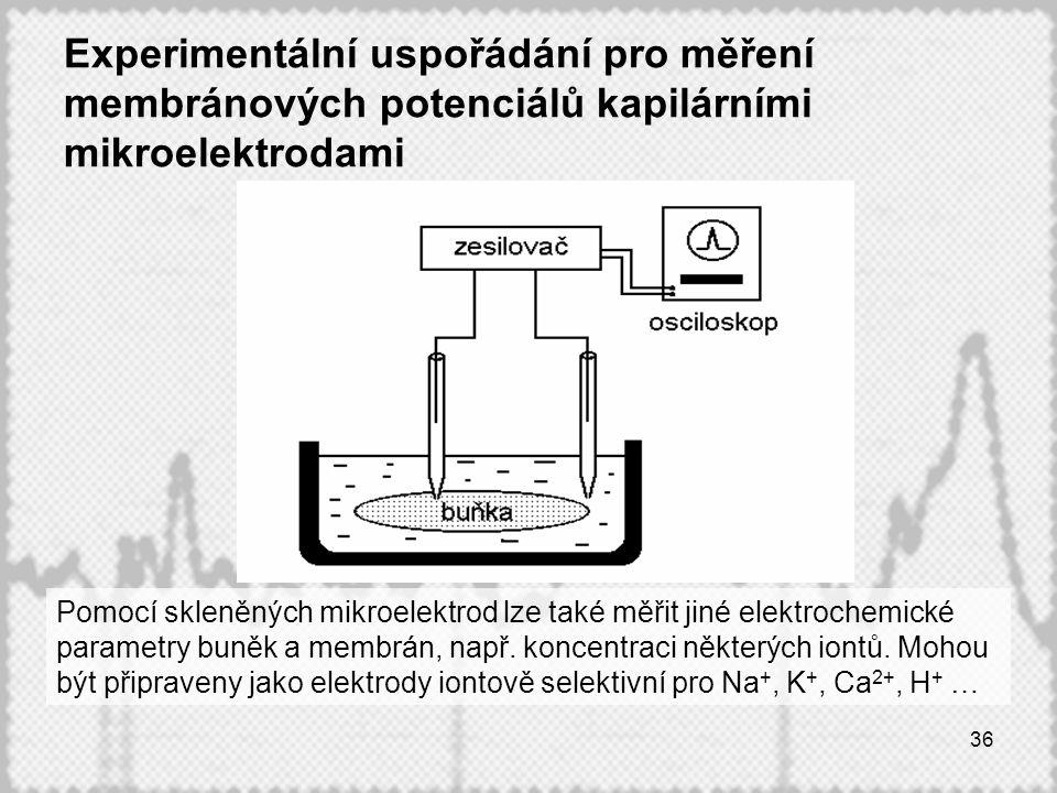 36 Experimentální uspořádání pro měření membránových potenciálů kapilárními mikroelektrodami Pomocí skleněných mikroelektrod lze také měřit jiné elektrochemické parametry buněk a membrán, např.