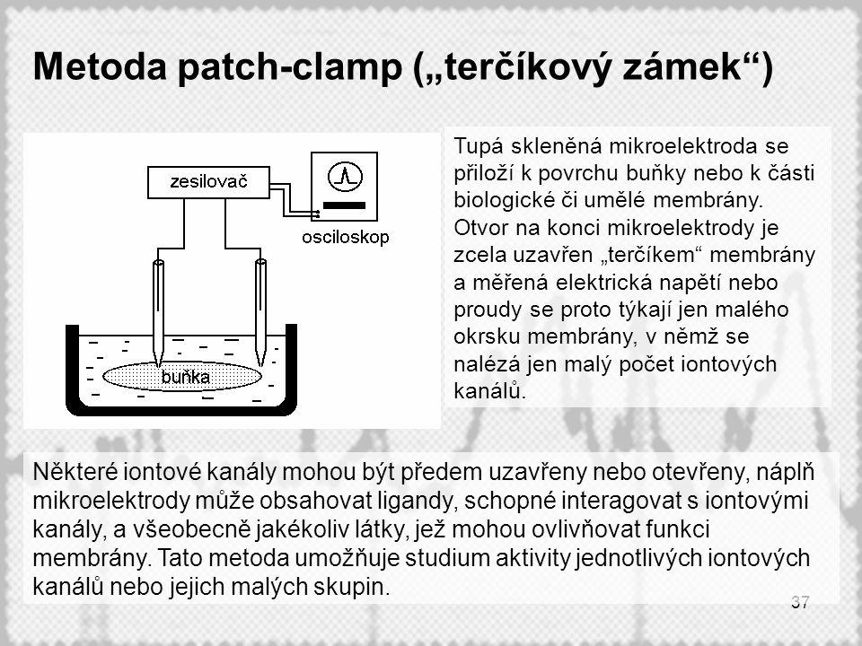 """37 Metoda patch-clamp (""""terčíkový zámek ) Některé iontové kanály mohou být předem uzavřeny nebo otevřeny, náplň mikroelektrody může obsahovat ligandy, schopné interagovat s iontovými kanály, a všeobecně jakékoliv látky, jež mohou ovlivňovat funkci membrány."""