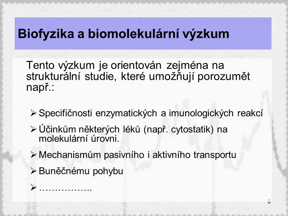 5 Biofyzika a biomolekulární výzkum Tento výzkum je orientován zejména na strukturální studie, které umožňují porozumět např.:  Specifičnosti enzymatických a imunologických reakcí  Účinkům některých léků (např.