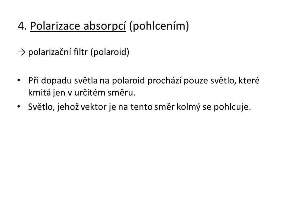4. Polarizace absorpcí (pohlcením) → polarizační filtr (polaroid) Při dopadu světla na polaroid prochází pouze světlo, které kmitá jen v určitém směru
