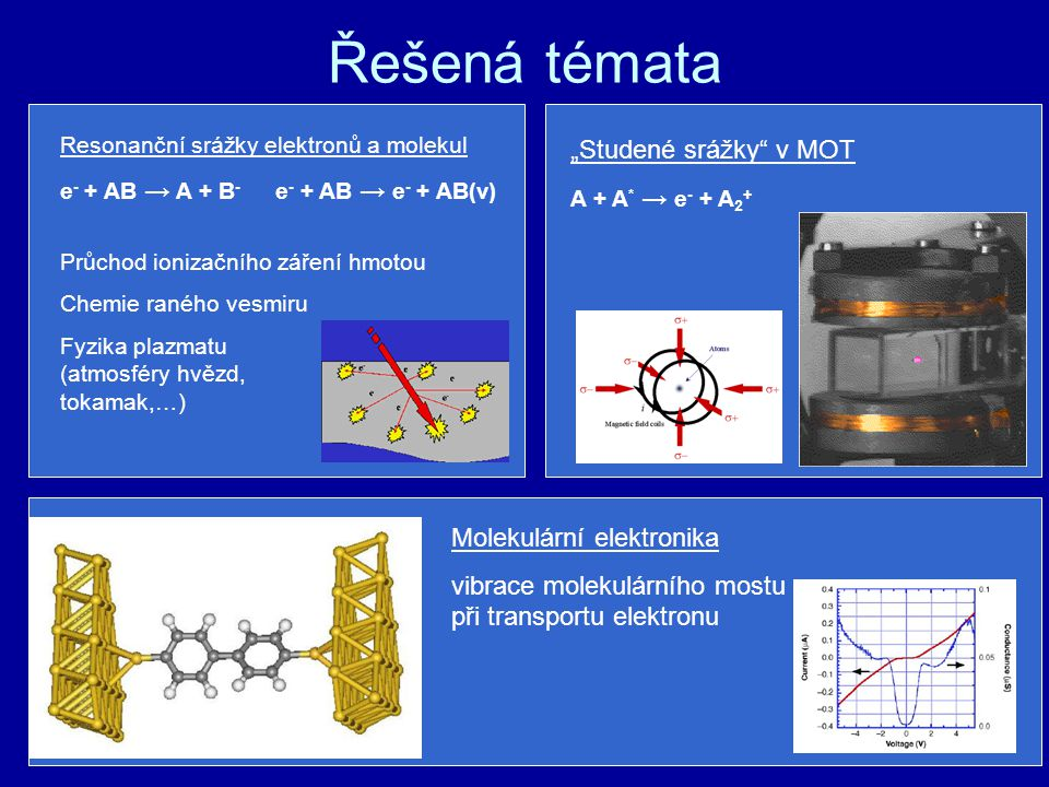 """Řešená témata Resonanční srážky elektronů a molekul e - + AB → A + B - e - + AB → e - + AB(v) Průchod ionizačního záření hmotou Chemie raného vesmiru Fyzika plazmatu (atmosféry hvězd, tokamak,…) """"Studené srážky v MOT A + A * → e - + A 2 + Molekulární elektronika vibrace molekulárního mostu při transportu elektronu"""