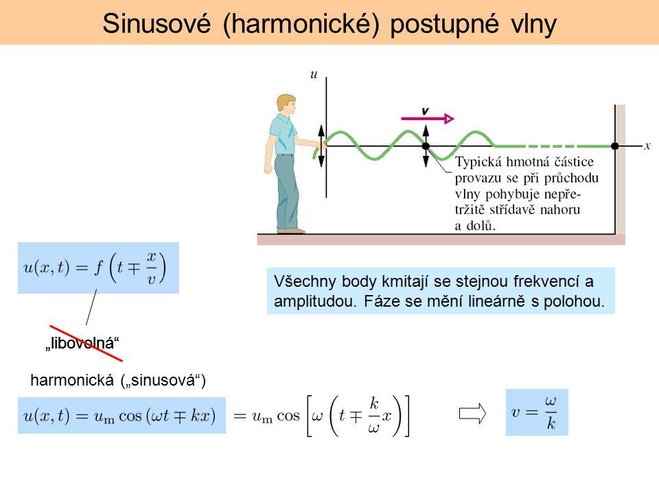 """Sinusové (harmonické) postupné vlny """"libovolná"""" u Všechny body kmitají se stejnou frekvencí a amplitudou. Fáze se mění lineárně s polohou. harmonická"""