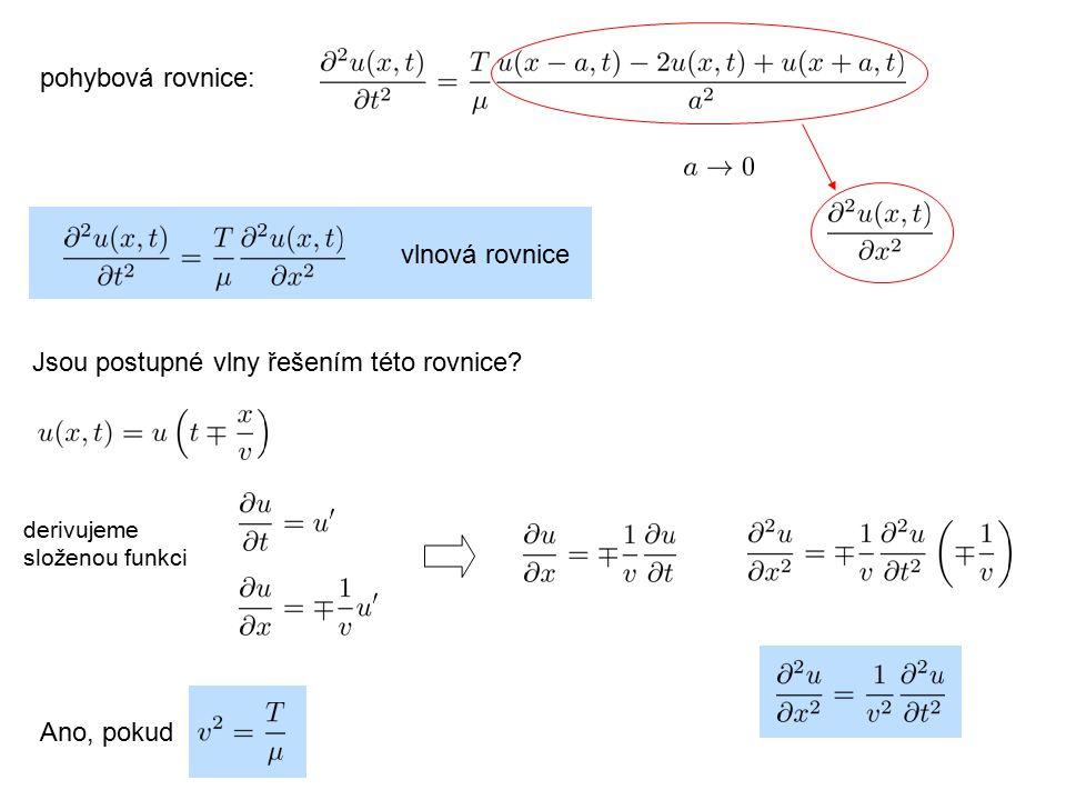 vlnová rovnice Jsou postupné vlny řešením této rovnice? derivujeme složenou funkci Ano, pokud