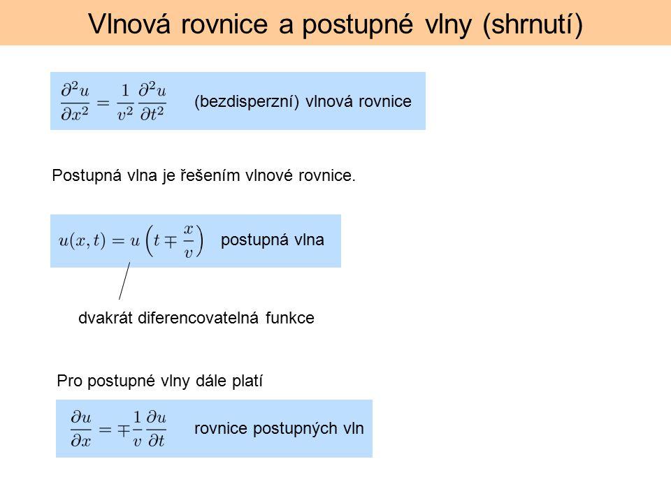 Vlnová rovnice a postupné vlny (shrnutí) (bezdisperzní) vlnová rovnice dvakrát diferencovatelná funkce Postupná vlna je řešením vlnové rovnice.